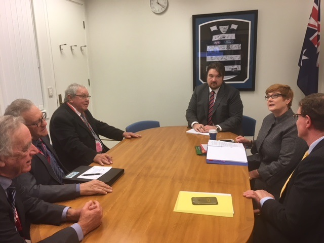 Lithgow Delegation Mayor Stephen Lesslie, Deputy Mayor Wayne McAndrew and Cr Ray Thompson with Minister for Defence Senator Marise Payne, The Hon. Andrew Gee MP and staff.
