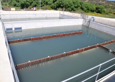 Regulates flow to the chlorine contact tank